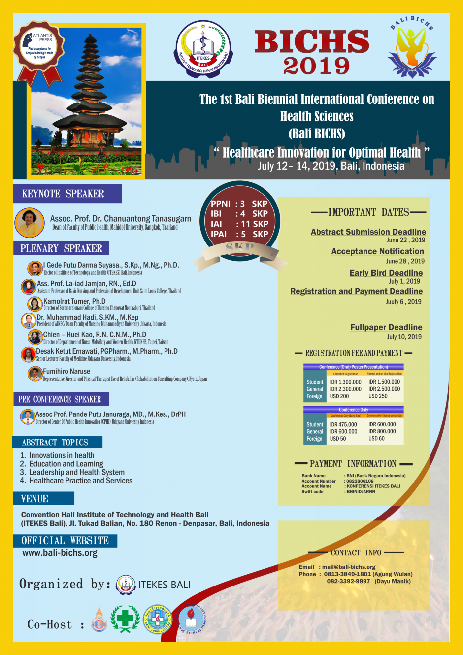 The 1st Bali Biennial International Conference on Health Sciences (Bali BICHS)